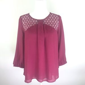 Skies are Blue Stitch Fix Maroon Blouse Size S NWT